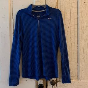 Nike black blue striped Dri Fit pullover Large